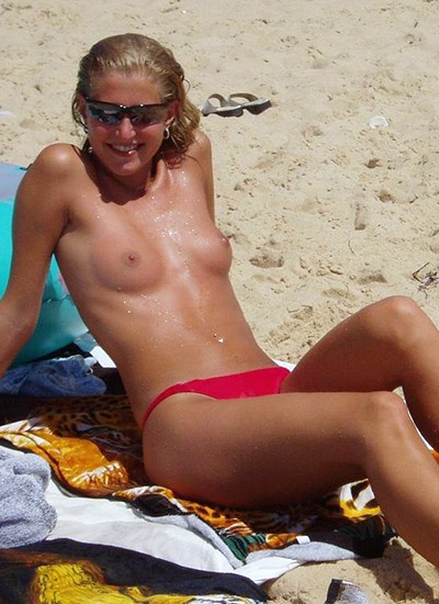 Topless girl on the beach